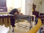 Caz setting up the Vibraphone