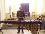 trying out the Marimba before the session started