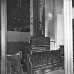 Odell's harmonium behind the choir stalls which was loaned after the fire