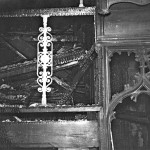 Charred ruins of 2 manual organ after the 1964 fire